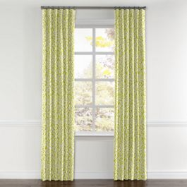 Lemon Yellow Brocade Curtains with Pocket Close Up