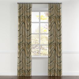 Gold & Black Marble Curtains with Pocket Close Up