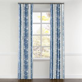 Aqua Blue Shibori Stripe Curtains with Pocket Close Up