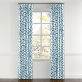 Teal & White Net Curtains with Pocket Close Up