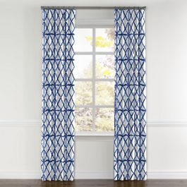 Blue Watercolor Diamond Curtains with Pocket Close Up