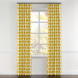 Bright Yellow Dot Curtains with Pocket Close Up