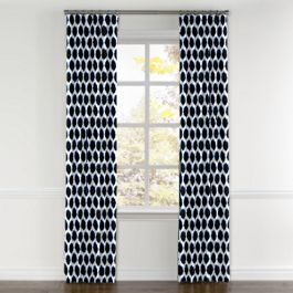 Black & Blue Dot Curtains with Pocket Close Up