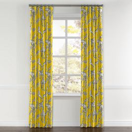 Yellow & Gray Zoo Animal Curtains with Pocket Close Up