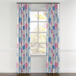Blue & Pink Floral Curtains with Pocket Close Up