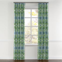 Green & Blue Ikat Curtains with Pocket Close Up