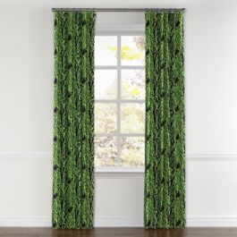 Green & Black Palm Leaf Curtains with Pocket Close Up