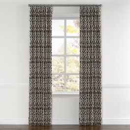 Tan & Black Tribal Print Curtains with Pocket Close Up