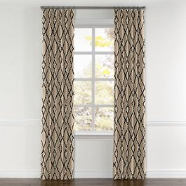 Black & Tan Tribal Trellis Curtains with Pocket Close Up
