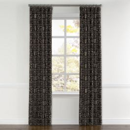 Black Woven Tribal Curtains with Pocket Close Up
