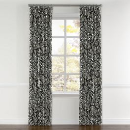 Modern Black & White Floral Curtains with Pocket Close Up