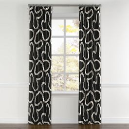 Charcoal Gray Ribbon Curtains with Pocket Close Up