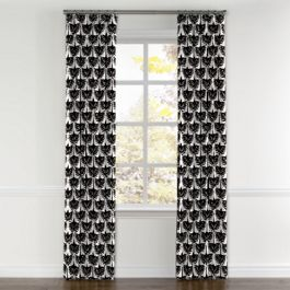 Flocked Black & White Bird Curtains with Pocket Close Up