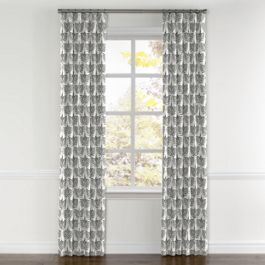 Flocked Gray Bird Curtains with Pocket Close Up