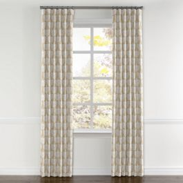 Natural & White Bird Curtains with Pocket Close Up