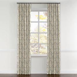 Silver & Tan Abstract Stripes Curtains with Pocket Close Up
