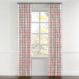 Burnt Orange Check Curtains with Pocket Close Up