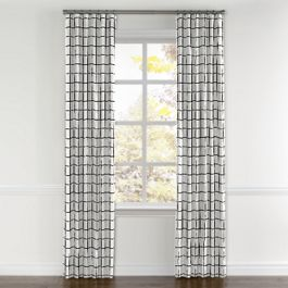 Black & White Check Curtains with Pocket Close Up