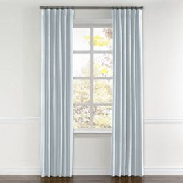 Powder Blue Linen Curtains with Pocket Close Up