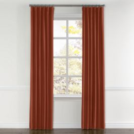 Dark Red-Orange Linen Curtains with Pocket Close Up
