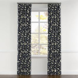 Navy Graphic Floral Curtains with Pocket Close Up