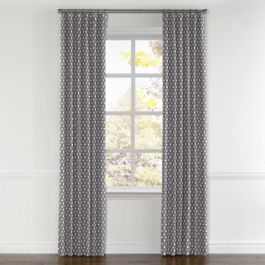 White & Gray Polka Dot Curtains with Pocket Close Up