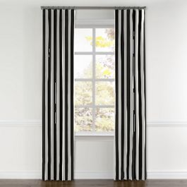 Black & White Awning Stripe Curtains with Pocket Close Up