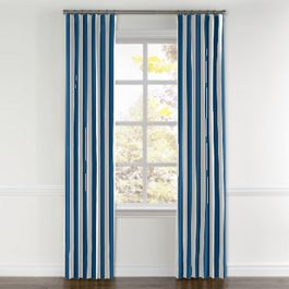 Royal Blue Awning Stripe Curtains with Pocket Close Up