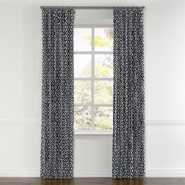 Navy Blue Floral Lattice Curtains with Pocket Close Up