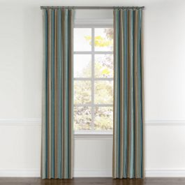 Blue & Tan Stripe Curtains with Pocket Close Up