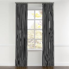 Black & White Thin Stripe  Curtains with Pocket Close Up