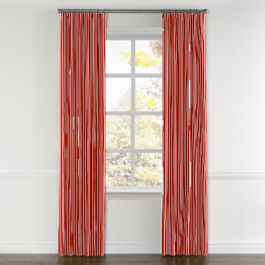 Flame Red Thin Stripe Curtains with Pocket Close Up