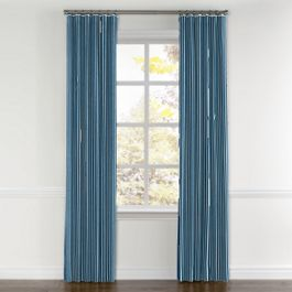 Bright Blue Thin Stripe Curtains with Pocket Close Up