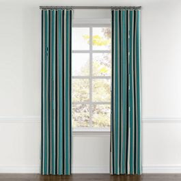 Turquoise & Black Stripe Curtains with Pocket Close Up