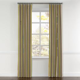 Yellow & Taupe Stripe Curtains with Pocket Close Up