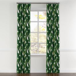 Green Banana Leaf Curtains with Pocket Close Up