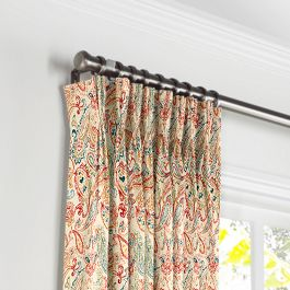 Multicolor Red Paisley Pleated Curtains Close Up