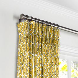 Modern Yellow Trellis Pleated Curtains Close Up