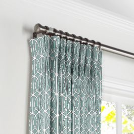 Modern Teal Trellis Pleated Curtains Close Up