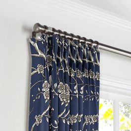 Navy Blue Floral & Bird Pleated Curtains Close Up