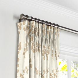 Gold Metallic Swirl Pleated Curtains Close Up