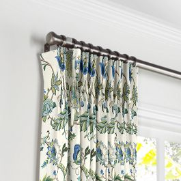 Jacobean Blue Floral Pleated Curtains Close Up