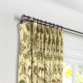 Jacobean Beige Floral Pleated Curtains Close Up