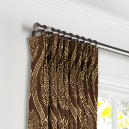 Brown Medallion Trellis Pleated Curtains Close Up