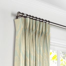 Aqua Medallion Trellis Pleated Curtains Close Up