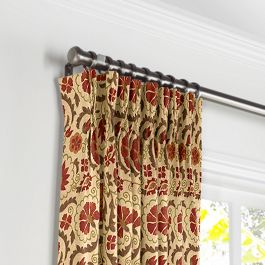 Beige & Red Suzani Pleated Curtains Close Up