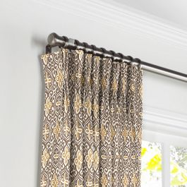 Tan & Gold Moroccan Mosaic Pleated Curtains Close Up