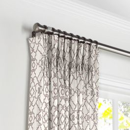 Gray Moroccan Trellis Pleated Curtains Close Up
