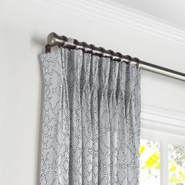 Cool Gray Trellis Scroll Pleated Curtains Close Up