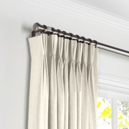 Ivory Slubby Linen Pleated Curtains Close Up